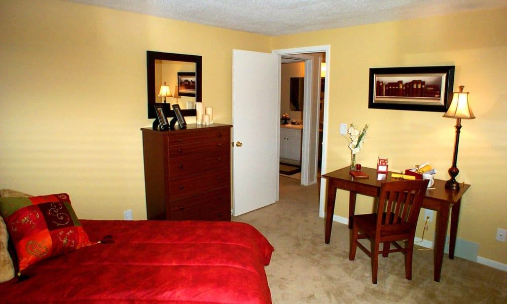 Bedroom at Briarcliffe Apartments & Townhomes in Lansing, Michigan