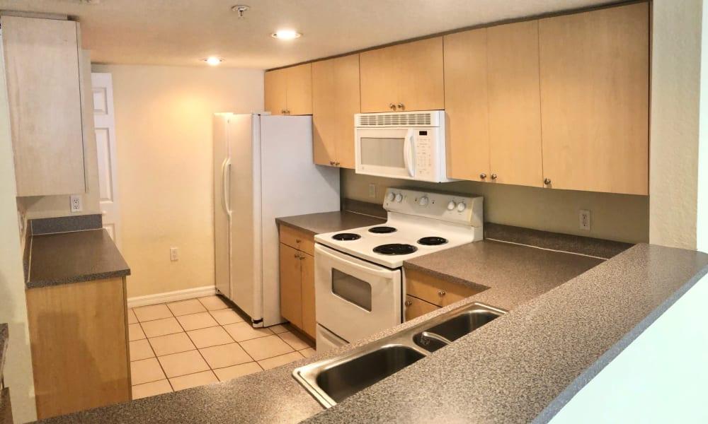 Spacious kitchen at Camino Real Apartment Homes in Boca Raton, Florida