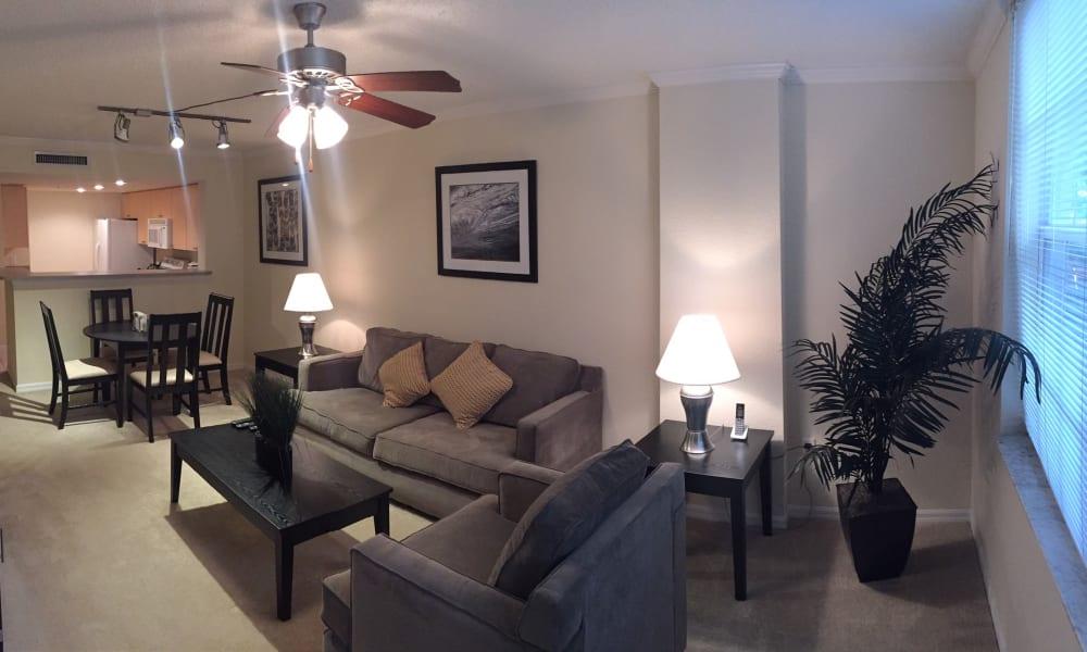 Spacious living room at Camino Real Apartment Homes in Boca Raton, Florida
