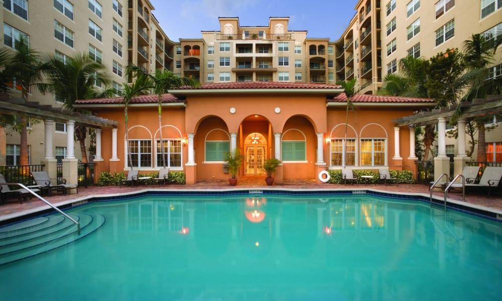Sparkling pool at Camino Real Apartment Homes in Boca Raton, Florida