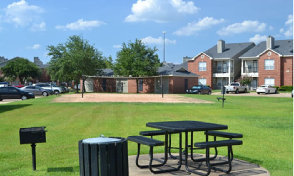 Sand volleyball court at Champion Lake Apartment Homes in Shreveport, Louisiana