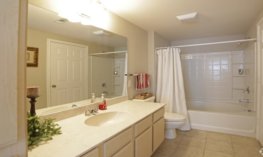 Model bathroom at Chateau des Lions Apartment Homes in Lafayette, Louisiana
