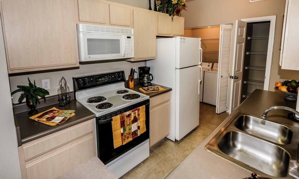 Kitchen at Chateau des Lions Apartment Homes in Lafayette, Louisiana