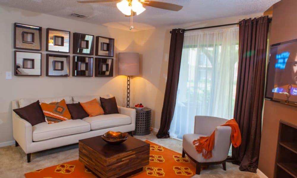 Spacious living room at Tuscany Pointe at Tampa Apartment Homes in Tampa, Florida