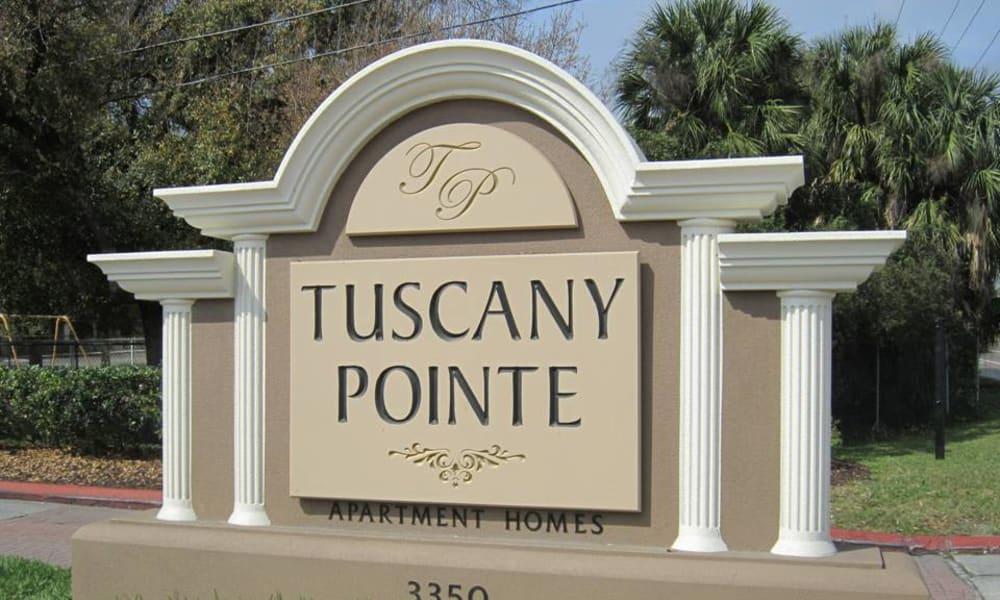 Front sign at Tuscany Pointe at Tampa Apartment Homes in Tampa, Florida