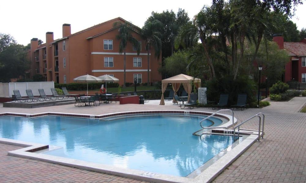 Sparkling pool at Tuscany Pointe at Tampa Apartment Homes in Tampa, Florida
