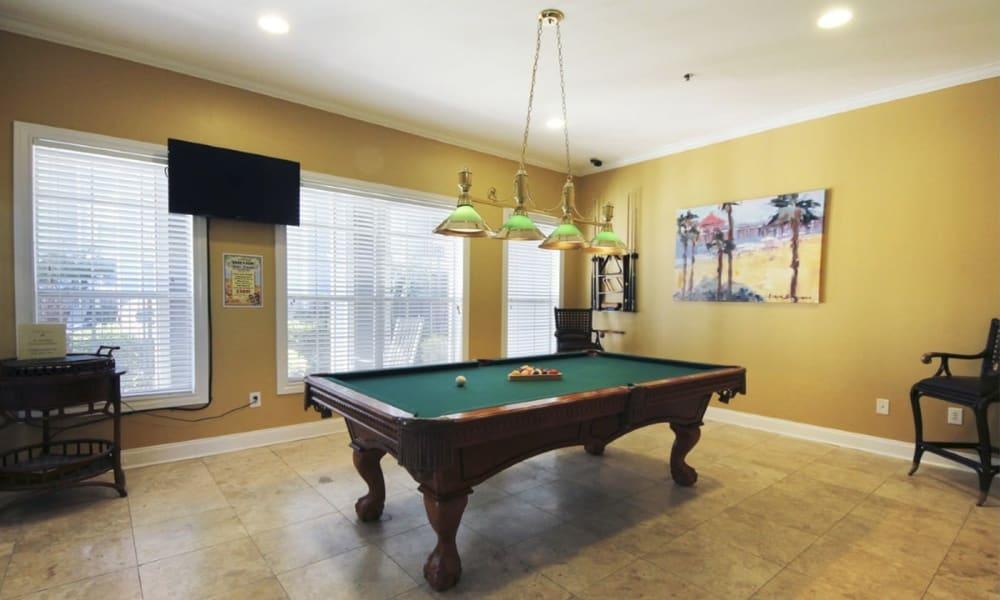 Billiards table at Villa du Lac Apartment Homes in Slidell, Louisiana