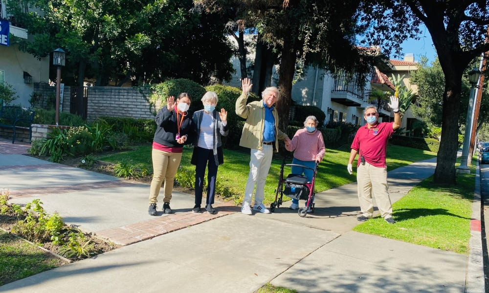 Seniors walking in Pasadena, California