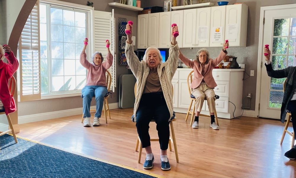 Seniors exercising in Pasadena, California