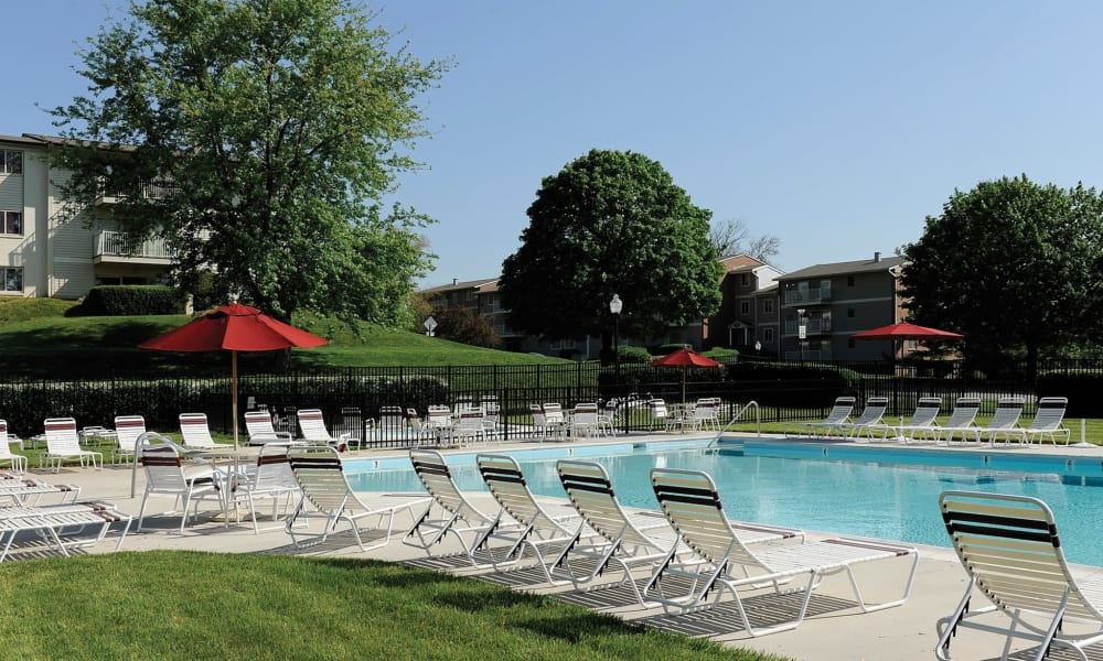 Sparkling pool at Morningside Apartments & Townhomes in Owings Mills, Maryland
