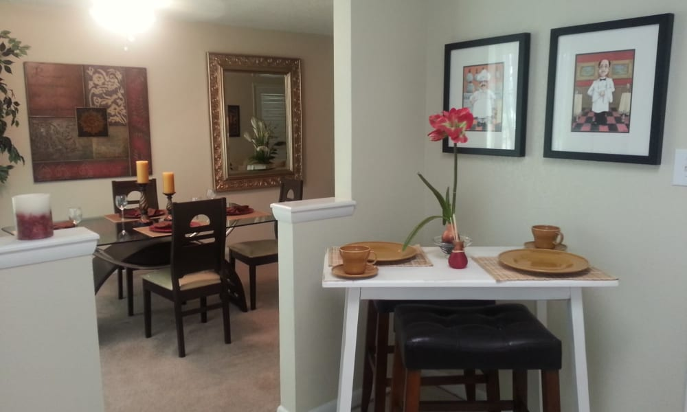 Dining room and kitchen at Park at Northside Apartments & Townhomes in Macon, Georgia
