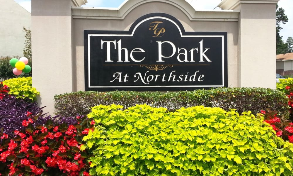 Front sign at Park at Northside Apartments & Townhomes in Macon, Georgia