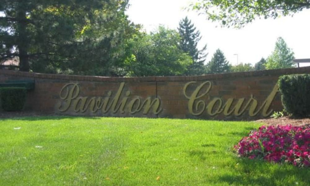 Front sign at Pavilion Court Apartment Homes in Novi, Michigan