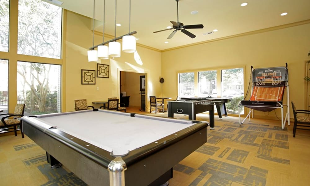 Billiards table at Peppertree Apartment Homes in Lafayette, Louisiana