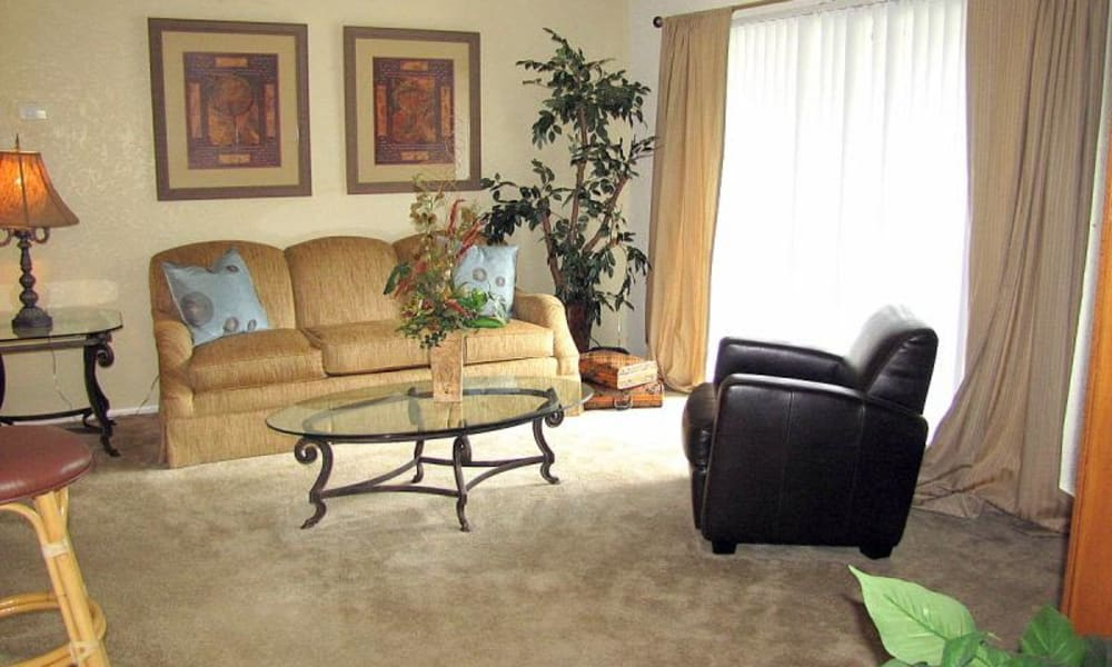 Spacious living room at Pointe Sienna Apartment Homes in Jacksonville, Florida