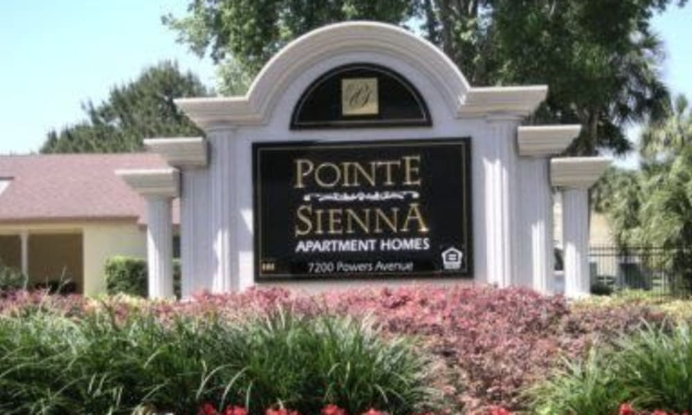 Front sign at Pointe Sienna Apartment Homes in Jacksonville, Florida