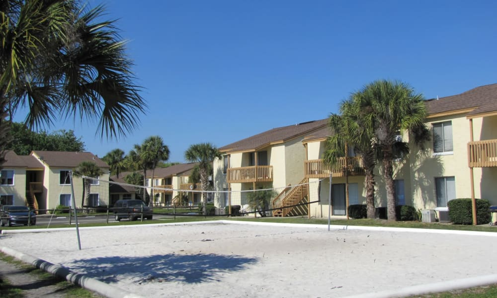 Sand volleyball court at Pointe Sienna Apartment Homes in Jacksonville, Florida
