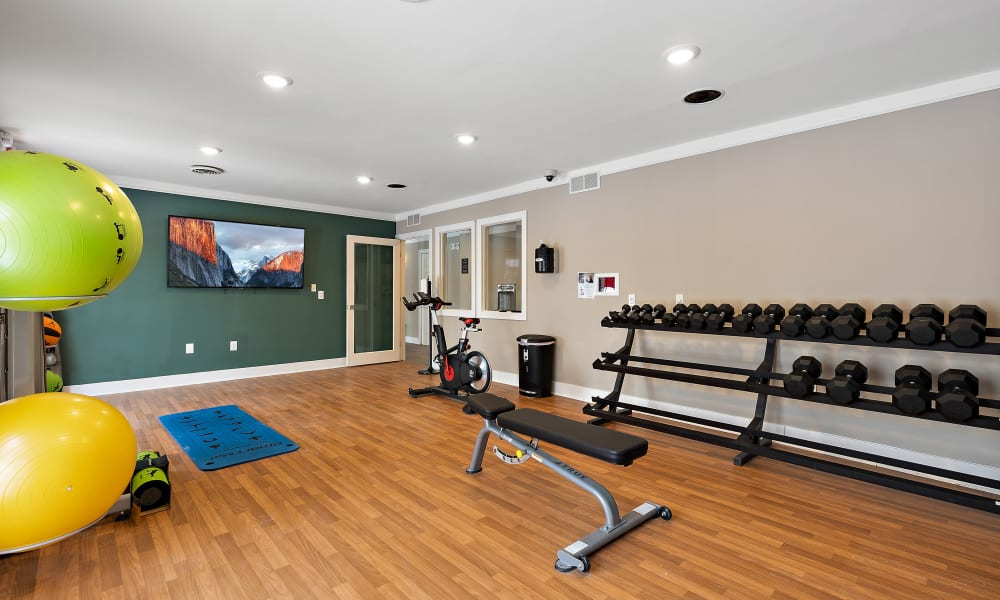 Free weights in fitness center at Brownstones community