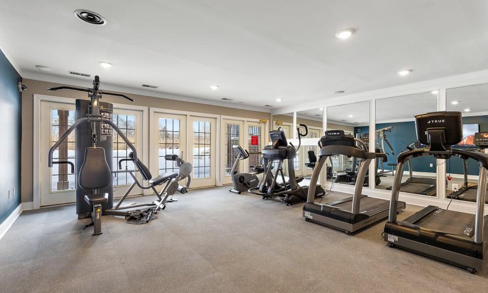 Treadmills in fitness center at Brownstones community