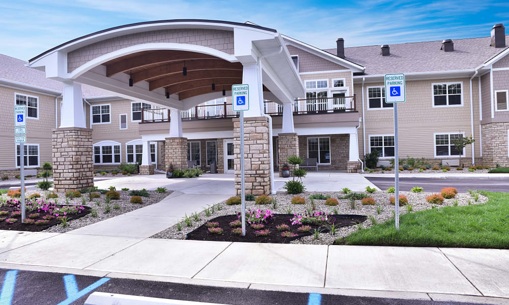 The exterior of the main entrance at Trilogy Health Services - La Grange in La Grange, Kentucky