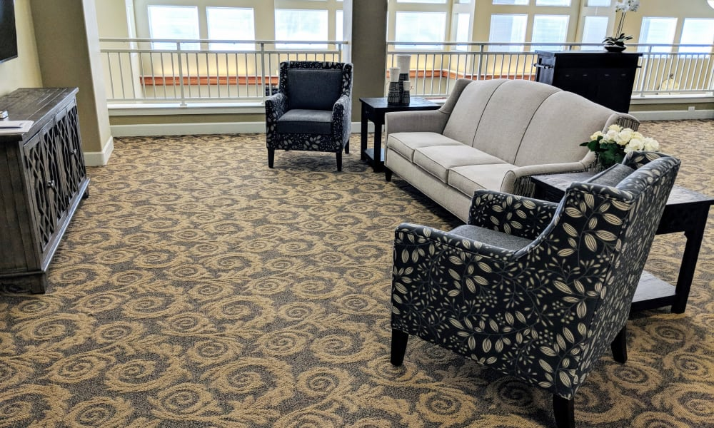 Decorative chairs in common area at Timber Pointe Senior Living in Springfield, Oregon