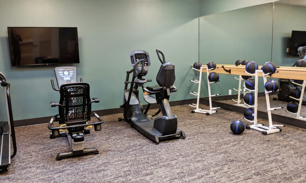 Gym equipment at Timber Pointe Senior Living in Springfield, Oregon