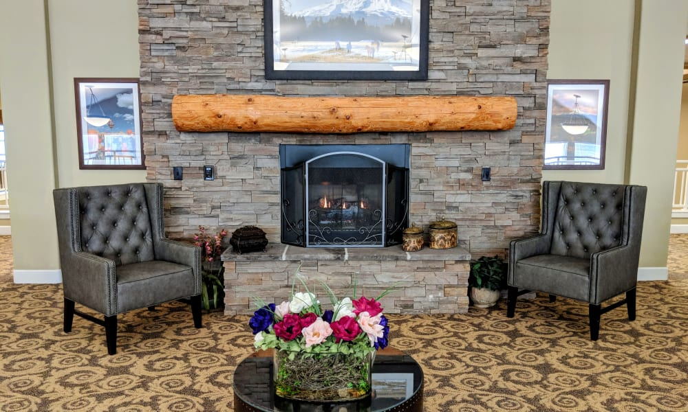 Fireplace at Timber Pointe Senior Living in Springfield, Oregon