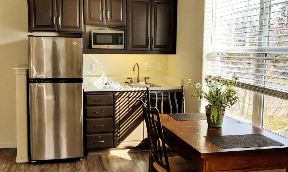Modern kitchen at Timber Pointe Senior Living in Springfield, Oregon