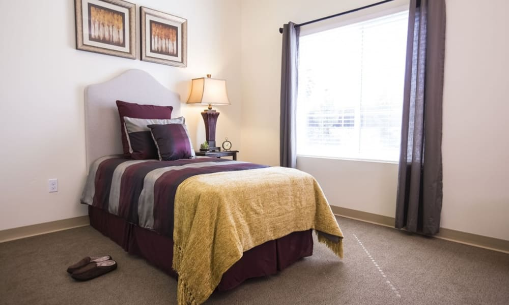 A large resident bedroom at The Pointe at Summit Hills in Bakersfield, California.