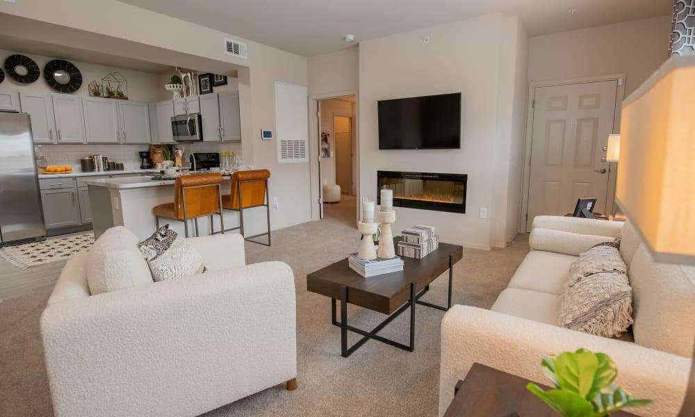 Living room area of 97@ North Oak in Kansas City, Missouri