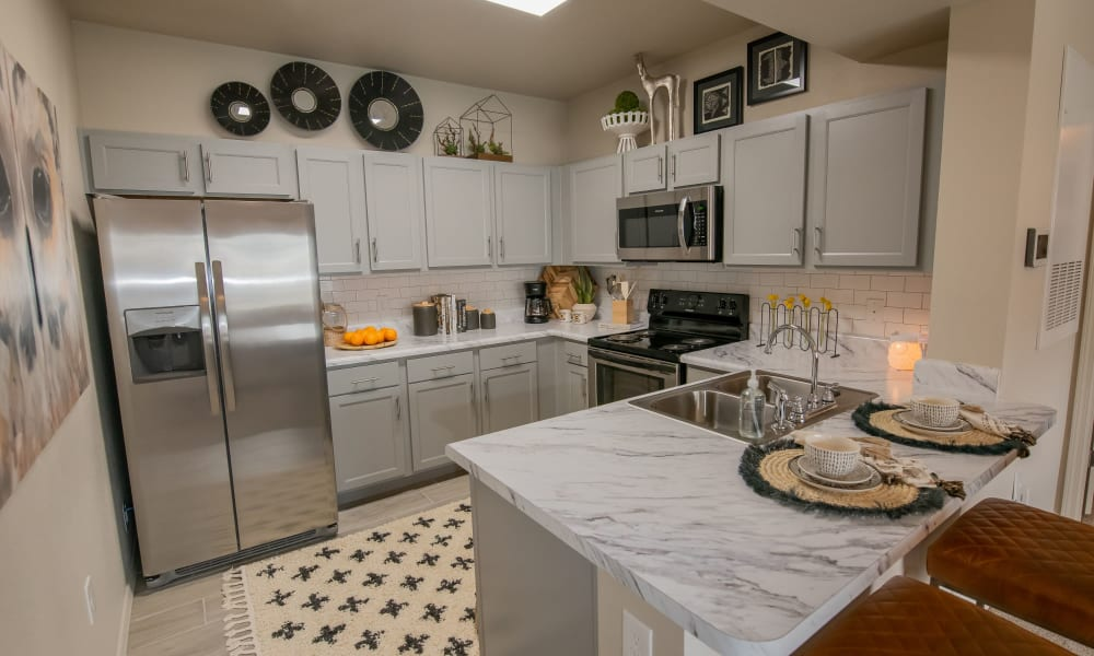 Modern kitchen at 97@ North Oak in Kansas City, Missouri