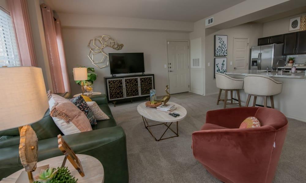Model living room at 97@ North Oak in Kansas City, Missouri