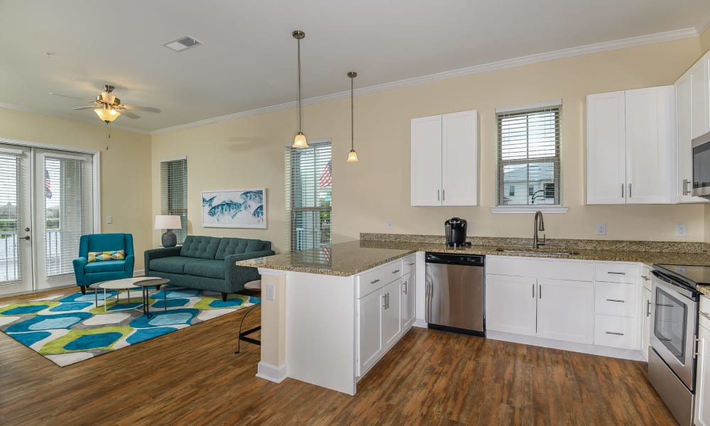 Very spacious kitchen and dining area at Palm Bay Club in Jacksonville, Florida