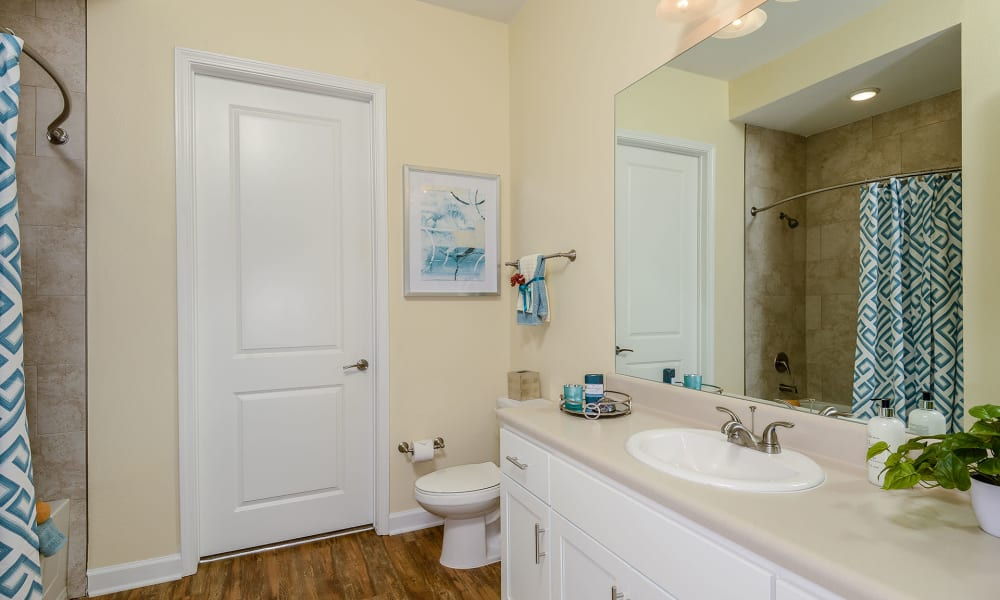 Bathroom with lots of counter space at Palm Bay Club in Jacksonville, Florida