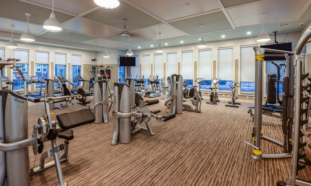 Gym for residents to work out in at Palm Bay Club in Jacksonville, Florida