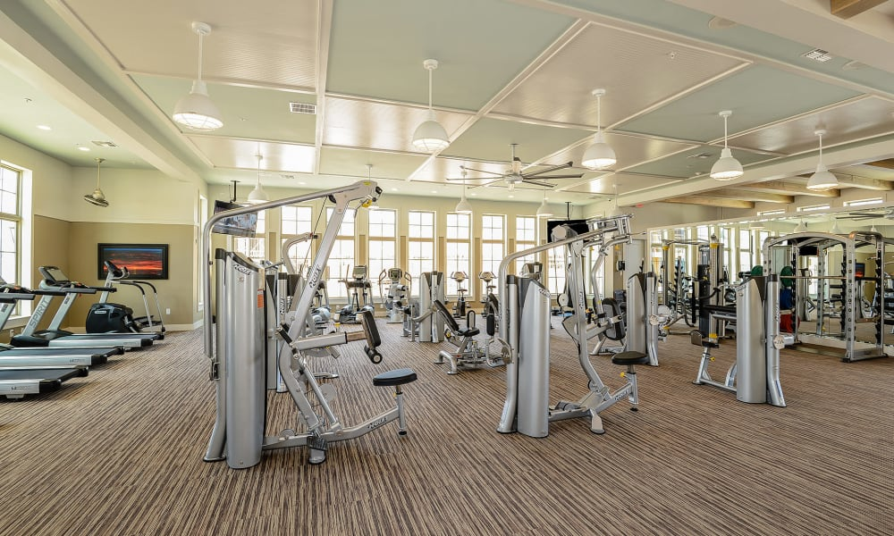 Full fitness center at Palm Bay Club in Jacksonville, Florida