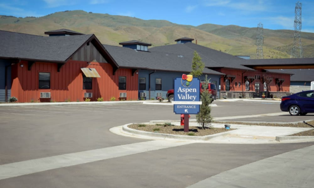 Driveway and signage at Aspen Valley Senior Living in Boise, Idaho