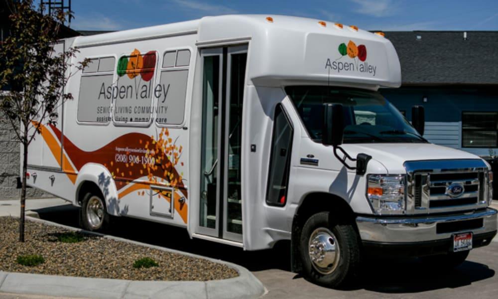 Community travel bus at Aspen Valley Senior Living in Boise, Idaho