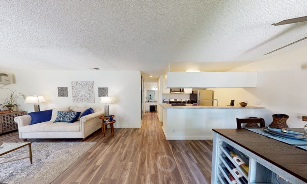 View a virtual of a 1 bedroom apartment home at Mediterranean Village Apartments in Costa Mesa, California
