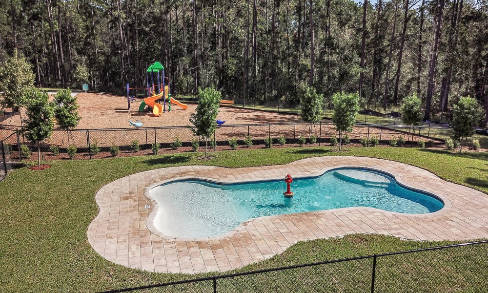 Dog-shaped pool at the onsite dog park at Palm Bay Club in Jacksonville, Florida