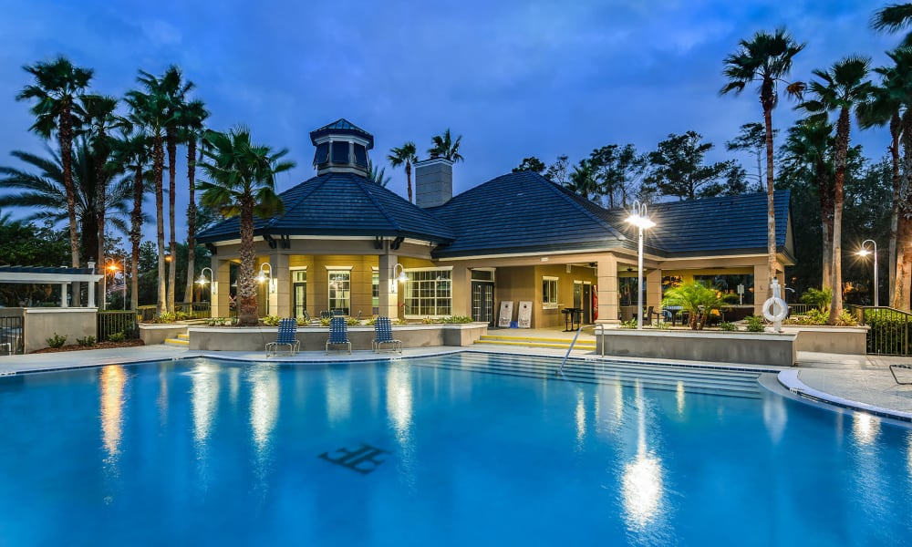 Night view of the pool and clubhouse at Ocean Park of Ponte Vedra in Jacksonville Beach, Florida