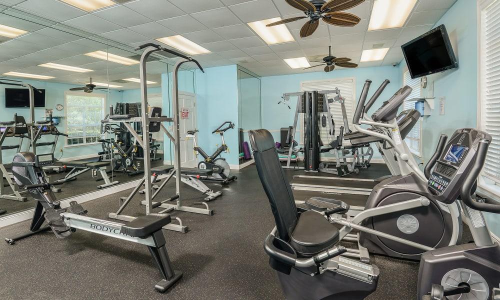 Exercise equipment in the fitness center at Ocean Park of Ponte Vedra in Jacksonville Beach, Florida