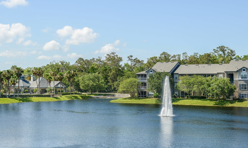 Pond with big fountain at Ocean Park of Ponte Vedra in Jacksonville Beach, Florida