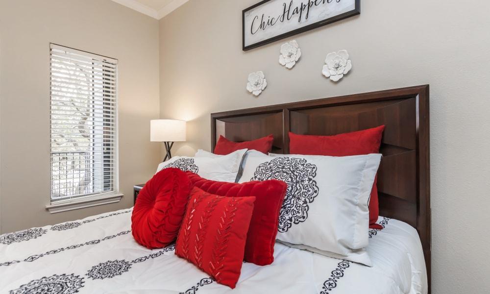 Close up of a bed at APEX in San Antonio, Texas