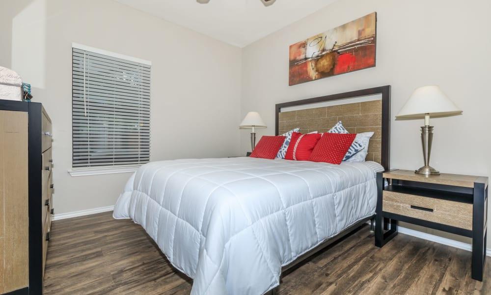 Cozy bedroom at APEX in San Antonio, Texas
