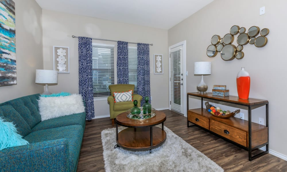 Well decorated living room at APEX in San Antonio Texas,