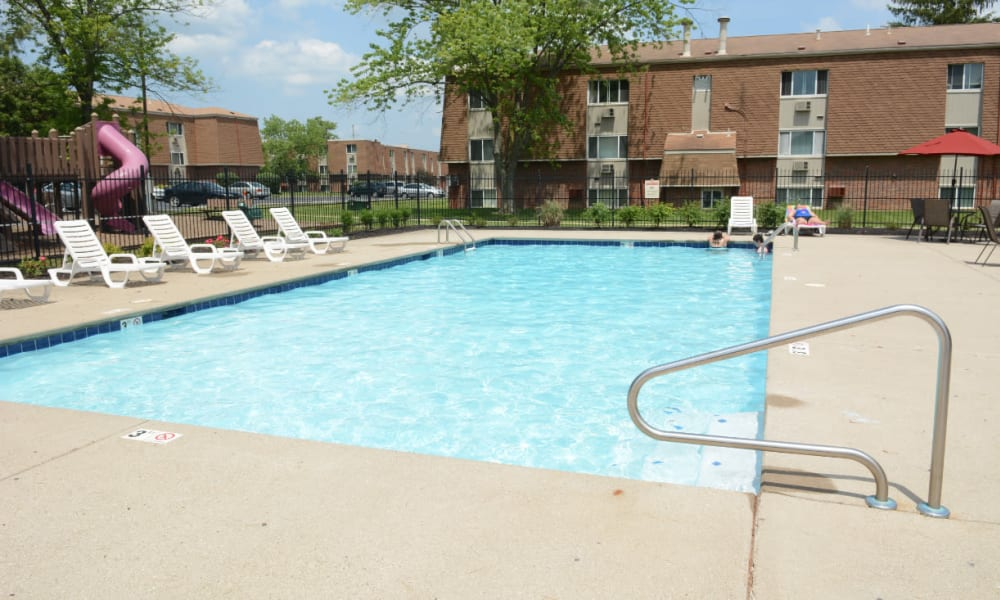 A large swimming pool with a sundeck at Northgate Meadows Apartments in Cincinnati, Ohio