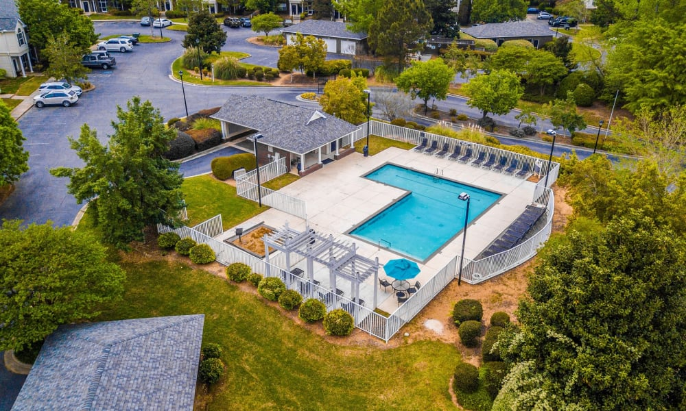 Aerial View of the Swimming Pool at Manchester at Wesleyan Apartment Homes in Macon, Georgia