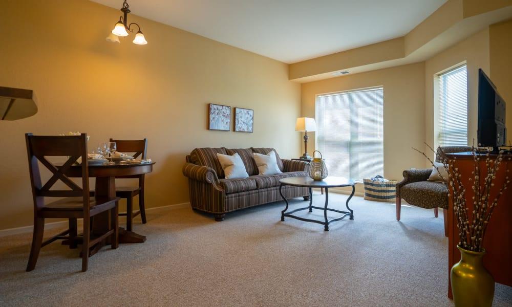 Senior apartment living room at York Gardens in Edina, Minnesota