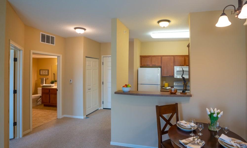 1 Bedroom senior apartment entryway and kitchen at York Gardens in Edina, Minnesota